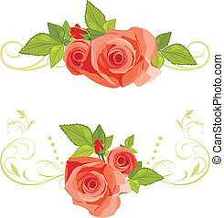 Bouquets of roses. Borders - Bouquets of roses. Decorative...