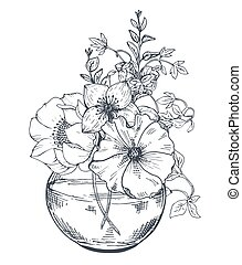 Bouquets with hand drawn flowers and plants in the jar. -...