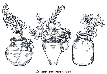 Bouquets with hand drawn flowers and plants in vases jars. -...