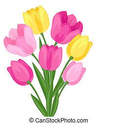 bouquetten, achtergrond., witte bloemen, tulpen