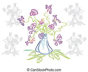 bouquetten, bloemen, abstract