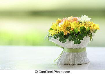 bouquetten, bloemen, tafel., anjer