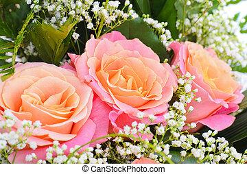 bouquetten, bloemen, vrijstaand, kleurrijke