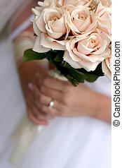 bouquetten, bruid, 3, vasthouden