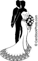 bouquetten, bruid, bruidegom, silhouette, trouwfeest