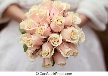 bouquetten, bruid, rozen, trouwfeest, handen