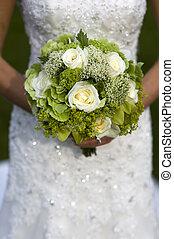 bouquetten, bruid, vasthouden, trouwfeest