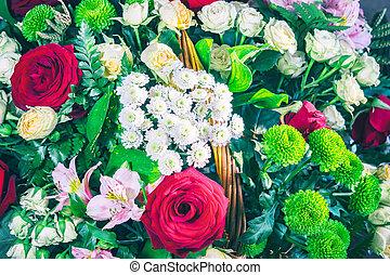 bouquetten, chrysanthemums, rozen, lelies