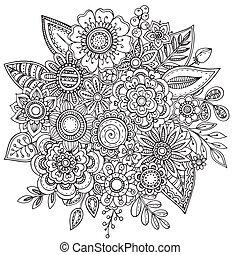 bouquetten, doodle, zich verbeelden, hand, vector,...