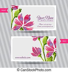 bouquetten, elegant, bloemen, kaart, zakelijk