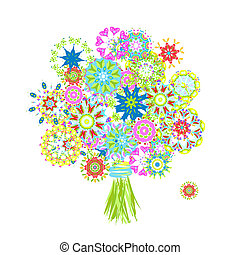 bouquetten, floral, gemaakt, arabesk, bloeien