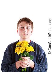 bouquetten, jongen, rozen