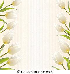 bouquetten, lente, tulp, bloemen, jouw, kaart, design.