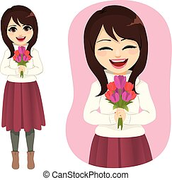 bouquetten, lente, vrouw, bloemen, vasthouden