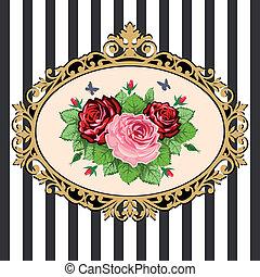 bouquetten, ouderwetse , frame, roos