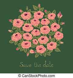 bouquetten, ouderwetse , roses., kaart
