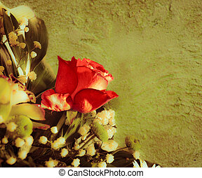 bouquetten, roos, wall., achtergrond, ouderwetse , styled., rood
