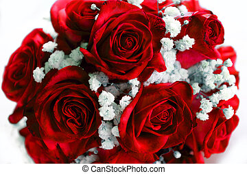 bouquetten, rozen, wit rood