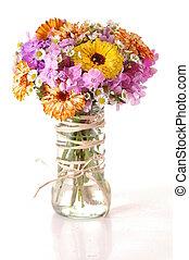 bouquetten, van, een, wilde bloemen