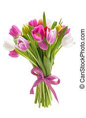 bouquetten, van, lente, tulpen, bloemen