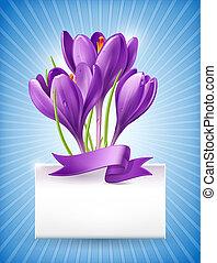bouquetten, van, lentebloemen, met, een, aantekening