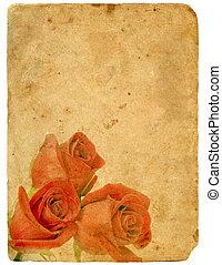 bouquetten, van, roses., oud, postcard.