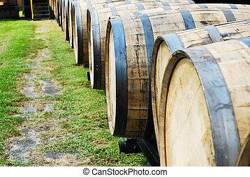 Bourbon Barrels - Barrels used for aging bourbon whiskey at...