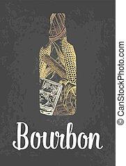 Bourbon bottle with glass, ice cubes, barrel, cigar. Color hand drawn sketch on vintage black background. Vector engraved illustration.