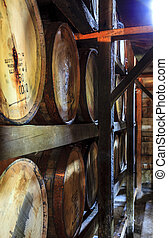 Bourbon warehouse - Bourbon barrels are aging in a warehouse