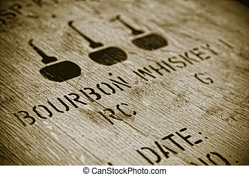 Bourbon whiskey - Closeup image of a lid of a Bourbon barrel