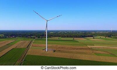bourdon, énergie, vent, zoom, turbine, vue