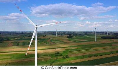 bourdon, éoliennes, ferme vent, beaucoup