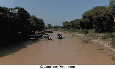 bourdon, 4k, bateau, rivière, tonle, flotter, pean, sève, ...