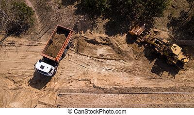 bourdon, camion, excavateur, sable, photographie aérienne, chargement