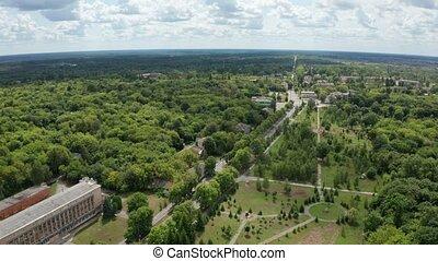 bourdon, chernobyl, ville bâtiments, sur, vol