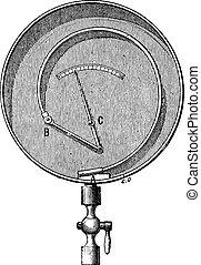 Bourdon Pressure Gauge, vintage engraving