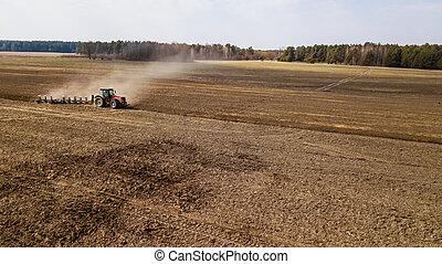 bourdon, vue, agriculture, au-dessus