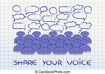 bourdonnement, nouvelles, opinions, et, communication