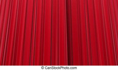 bourdonner, rideaux rouges, ouverture