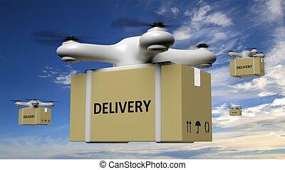 bourdons, ciel bleu, fond, boîte livraison, carton