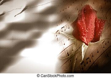 bourgeon, carte, musique, rouges, romance, rose