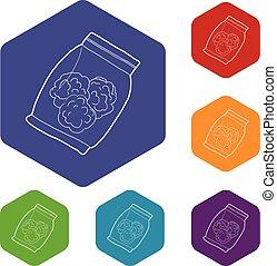 bourgeons, icônes, monde médical, marijuana, sac, vecteur, petit, hexahedron