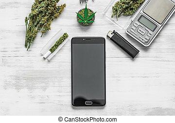 bourgeons, mauvaise herbe, bois, jointure, déroulé, vue, cannabis, sommet, écrasé, blanc, broyeur, fond, marijuana, smartphone, feuille