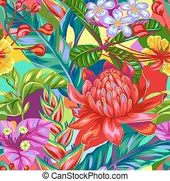 bourgeons, modèle, feuilles, flowers., seamless, exotique, multicolore, thaïlande, usines