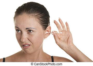 bourgeons, oreilles, femme, nettoie, coton