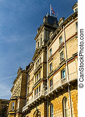 bournemouth, 市庁舎, 前, ホテル, 造られる, フランス語, イタリア語, そして, 新古典主義,...