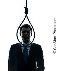 bourreau, business, corde à piquet, devant, homme, silhouette