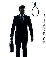 bourreau, silhouette, corde à piquet, homme, devant, business