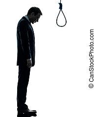 bourreau, triste, corde à piquet, devant, position homme, silhouette