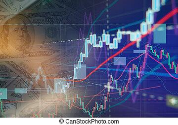 bourse, diagramme, graphiques